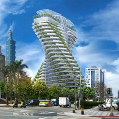 A plant-covered twisting tower shaped like a DNA strand by Belgian architect Vincent Callebaut is under construction in Taipei, Taiwan