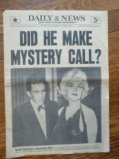 Historical+Newspaper+Front+Pages   Details about MARILYN MONROE DEATH newspaper LAST PHONE CALL NY Daily ...