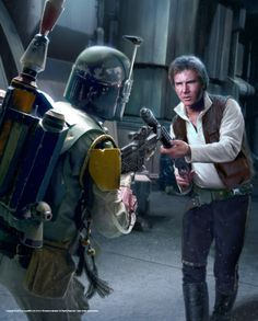 """*STAR WARS ~ A scene from the short story """"The Last One Standing: The tale of Boba Fett"""" - Han Solo + Boba Fett point blasters at each other in a tense standoff on Jubilar. (Painting by: Chris Trevas)."""