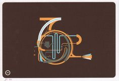 French horn screen print--fabulous color palate.