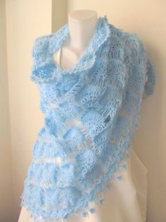 Crochet shawl // Blue shawl // LIGHT BLUE shawl // by ScarfsSale