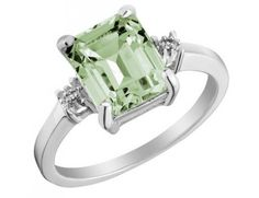 Green Amethyst Ring with Diamond Accent 3.0 Carats (ctw) in Sterling Silver