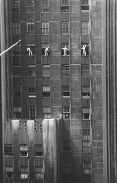 1958 Window Washers, 48th Street, New York. Photograph by Inge Morath