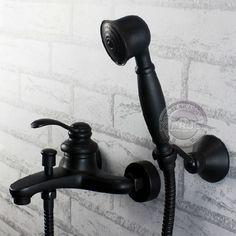 Wandmontage bad kraan een handvat en een handdouche. Zwarte olie ingewreven borstel wastafel mengkraan. Badkamer met douche kranen gm-330