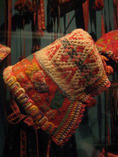 Swedish embroidered bonnet, Nordiska Museet, Stockholm