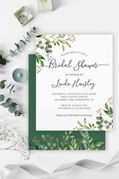 Eucalyptus Greenery Leaves Foliage Themed Wedding Invitations, Cards, Stationery and more. Chic Bridal Showers, Bridal Shower Signs, Bridal Shower Invitations, Wedding Places, Wedding Place Cards, Wedding Menu, Invitation Set, Zazzle Invitations, Invitation Design