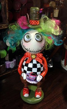 OOAk Grimmy the Mad Hatter art doll with Reuters clock. Ten inches tall!
