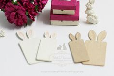 Miniature SET of Pair Cute Bunny Ears Rectangle by PetitDlicious
