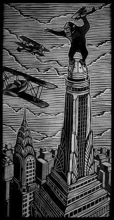 Brian Reedy ~ King Kong ~ Woodblock Print, 12 x 24 inch, rice paper King Kong, Woodcut Art, Linocut Prints, Art Prints, Merian, Scratchboard, Arte Horror, Cultura Pop, Gravure