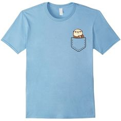 Sea Otter Pocket T-Shirt Funny Cute Peeking Otter Tee ❤ liked on Polyvore featuring tops, t-shirts, blue top, blue t shirt, blue tee, pocket tees and pocket t shirts
