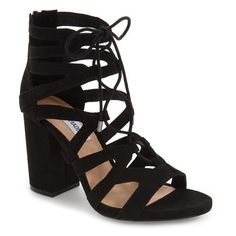 Women's Steve Madden 'Gal' Strappy Lace-Up Sandal (295 BRL) ❤ liked on Polyvore featuring shoes, sandals, black, black strappy shoes, laced sandals, steve madden sandals, black chunky sandals and strap sandals