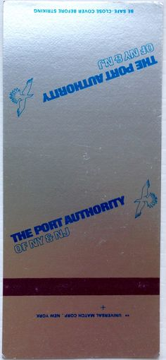 The Port Authority #matchbook - To design & order your business' own logo #matches GoTo: GetMatches.com #phillumeny