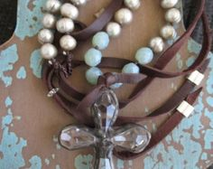 Knotted leather freshwater pearl crystal cross necklace adjustable artisan holiday jewelry by slashKnots