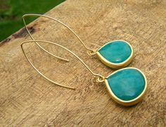 Teal aqua dangle earrings.Turquoise Green Blue Jade modern drop earrings on Gold. on Etsy, $16.00