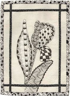 Zentangle quilt: Tangled Tulip by Nancy Urschel. 2012 AAQI quilt, posted by Quilted Jonquil