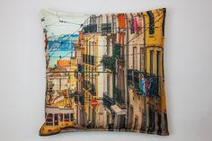 Capa de Almofada Elétrico de Lisboa   A Loja do Gato Preto   #alojadogatopreto   #shoponline