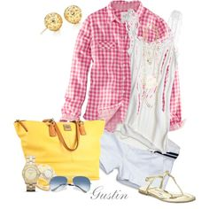 pink and yellow, created by gustinz on polyvore. fashion Style H&M CALYPSO ST. BARTH