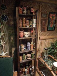 Tiki Mug collection, Vintage Tiki, Tiki Bar, Tiki Decor! Tiki Art, Tiki Tiki, Bookshelf Bar, Shelves, Tiki Statues, Tiki Bar Decor, Tiki Lounge, Vintage Tiki, Tiki Torches