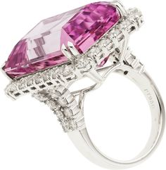 Kunzite, Diamond and White Gold Ring