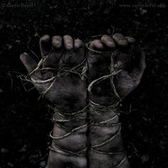 My hands and feet are bound, but not by rope. No, I've done something terribly bad; I deserve what they bound me with. I deserve the sting of the sharp metal. I deserve the immobility of the barb wire twisted around my hands and feet.