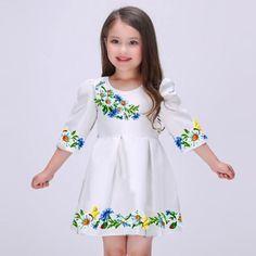 "Платье детское ""Польовий віночок"" Frocks For Girls, Little Girl Dresses, Girls Dresses, Flower Girl Dresses, Mexican Outfit, Mexican Dresses, Cheap Formal Dresses, Nice Dresses, Kids Outfits Girls"