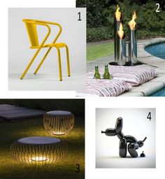 Isabel's Picks for Summer 2017   WITH OR WITHOUT SUN  - Add a bit of fun --- Bica chair, Oliva, Meridiano Vibia, Outdoor light , Bio-blaze, Bioethanol outdoor stainless steel fireplace, Small Pipes, Popek whatshisname, Sculpture dog Chair Price, Iron Steel, Pipes, Outdoor Lighting, Stainless Steel, Indoor, Colours, Sun, Sculpture