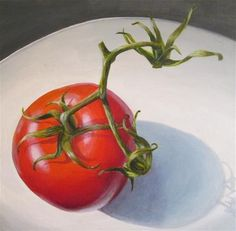 """Daily Paintworks - """"Tomato"""" - Original Fine Art for Sale - © Debbie Shirley Still Life Art, Fine Art Gallery, Art For Sale, Vegetables, Tomatoes, Paintings, Simple, Ideas, Art"""