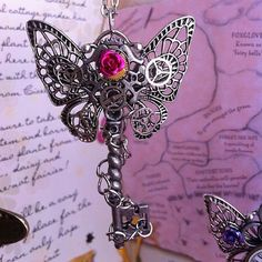steampunk skeleton key butterfly necklace via Etsy