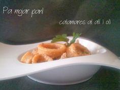 pa mojar pan!: Calamares con all i oli Tapas, Eggs, Snacks, Breakfast, Food, Fish Recipes, Snap Peas, Soup Bowls, Spanish Cuisine