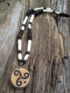 "19.5"" Bass Clef Triskele Necklace  Carved Bone and by LadyBassMusic"