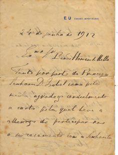 Carta do Conde d'Eu ao Barão Homem de Mello, Eu, 14 de junho de 1912. (1)