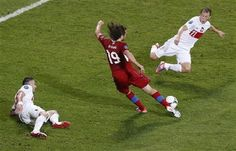 A Reuters photo of Petr Jiráček scoring for the Czech Republic in their 1-0 win over Poland at Euro 2012 on 16th June