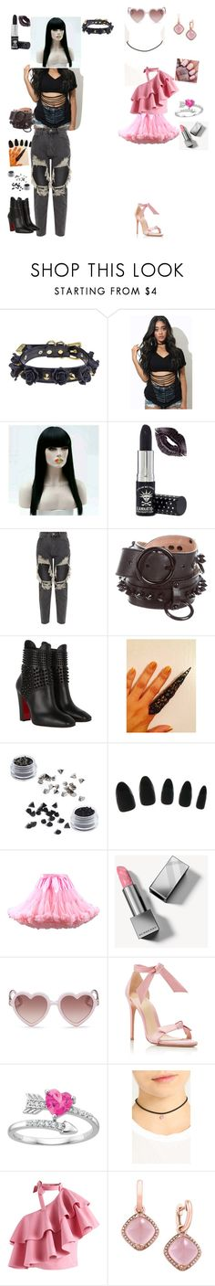 """Goth and Girly"" by nelyr ❤ liked on Polyvore featuring WithChic, Manic Panic NYC, Alexander McQueen, Christian Louboutin, 3 Concept Eyes, Burberry, Sons + Daughters, Stuart Weitzman, Chicwish and Effy Jewelry"