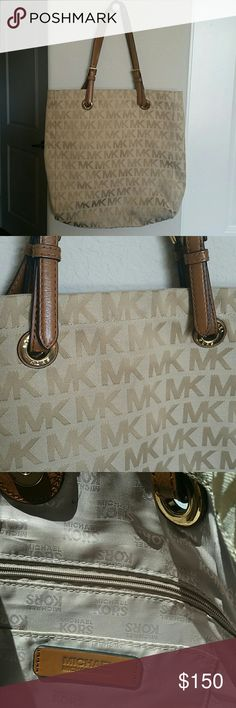 Michael Kors Tote Bag Beautiful Michael Kors Tote bag.  Preloved.  Had 1 pen making inside the bag. In very good condition. Price negotiable, make an offer through offer button. No PP and no trades. MICHAEL Michael Kors Bags Totes