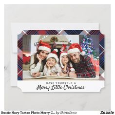 Rustic Navy Tartan Photo Merry Christmas Lettering Holiday Card Christmas Photo Cards, Christmas Quotes, Christmas Greetings, Holiday Cards, Tartan Christmas, Merry Little Christmas, Merry Christmas Typography, Rustic Blue, Lettering