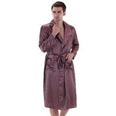 New Spring/Autumn Dressing Gown Mens Bath Robe Silk Robe Satin Bathrobe Noble Men Home Clothing Indoor Clothing Peignoir, Gowns, Silk, Cotton, Jackets, Dressing, Clothes, Image, Vestidos