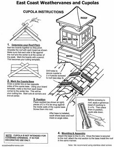 Weathervane - Cupola - Copper Finial: Assembly and Installation Instructions Barn Cupola, Woodworking Plans, Woodworking Projects, Shed Construction, Weather Vanes, Diy Chicken Coop, Home Tv, Garages, Outdoor Projects