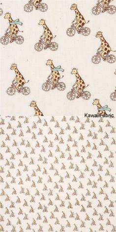 beige double gauze fabric cute giraffe animal on bicycle from Japan - Kawaii Fabric Shop Michael Miller, Kawaii, Cute Giraffe, Fabric Shop, Double Gauze Fabric, Couture, Fabric Design, Bicycle, Delicate