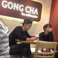 "@exopics63's photo: ""141001 Sesoo at a bubble tea store  He must really like it lol  #exo #sehun #kyungsoo"""