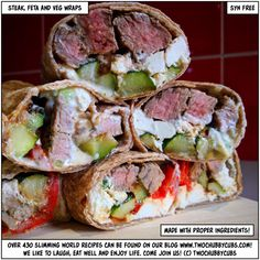 More wraps ideas! Steak, feta and veg wraps, perfect for Slimming World and even better for a hot lunch. Not so good for a hot Carl though. Veg Wraps, Lunch Wraps, Ww Recipes, Healthy Recipes, Healthy Food, Steak Recipes, Healthy Meals, Healthy Eating, Slimming World Lunch Ideas