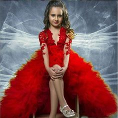 2016 Red High Low Pageant Flower Girls Dresses Ball Gown V Neck Long Sleeves Formal Communion Arabic Dubai Toddler Kids Gowns 10 12 Lace Pageant Dresses Girls Pageant Dresses Pageant Dresses For Teens Online with $189.72/Piece on In_marry's Store | DHgate.com