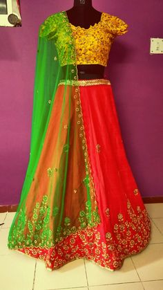 #red #lehenga #with #yellow #blouse and #green #dupatta #zardosi #work #handwork #made for #sydeny #client
