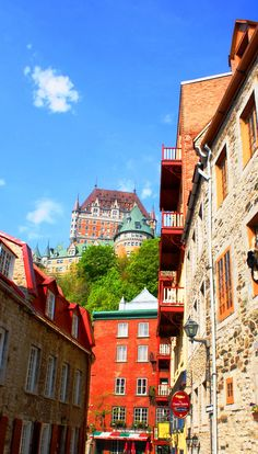 Dizzying view of fabulous Chateau Frontenac in Quebec City #Canada