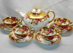 ROYAL CHELSEA GOLDEN ROSE COLLECTION TEAPOT TEA CUP AND SAUCER SET