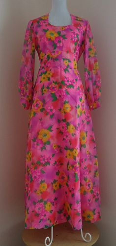 Vintage 1970s Jeunesse New York Toronto Pink Floral Chiffon Evening Gown on Etsy, $124.03 CAD