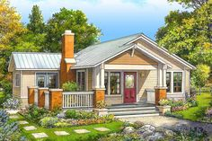 Plan Simply Sweet 2 Bed Cottage Plan With Front Porch Small Cottage Homes, Cottage House Plans, Bungalow House Plans, Small Cottage Plans, Duplex House Plans, Small Cottages, Family House Plans, Country Cottages, Ranch House Plans