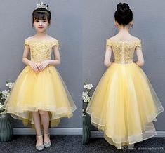 Modern Light Yellow Flower Girls Dresses For Wedding Hi Low Off The Shoulder Applique Beaded Cheap Juniors Bridesmaid Prom Formal Dresses Big Girls Dresses Cheap Little Girl Dresses From Stunningdress88, $57.29| DHgate.Com Yellow Flower Girl Dresses, Little Girl Dresses, Flower Girls, Formal Prom, Formal Dresses, Wedding Dresses, Evening Dresses Online, Girls Pageant Dresses, Princess Girl