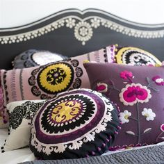 Suzani patterns are all the rage in interior design! Suzani is a Persian word meaning needle. In the context of interior design, you'll no. Textiles, Plum Bedding, Mustard Bedding, Bedding Sets, Embroidered Cushions, Pillow Fight, Pillow Talk, My New Room, Soft Furnishings