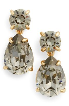 The smoky hue of the swarovski crystals lends an air of mystery to these Kate Spade drop down earrings.