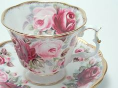 """Vintage China Royal Albert Vintage Fine Bone China Tea Cup and Saucer Made in England """"Ruby- Summer Bounty Series"""" Large Pink Roses Lots of Gold: More - Vintage China, Vintage Tea, Teapots And Cups, Teacups, Bone China Tea Cups, Rose Tea, Tea Service, My Cup Of Tea, Royal Albert"""